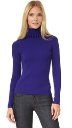 Victoria Beckham Loop Edge Turtleneck Sweater Iris