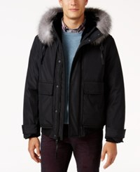 Andrew Marc New York Men's Hooded Faux Fur Lined Imperial Jacket Black