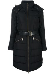 Michael Michael Kors Zipped Hooded Coat Black
