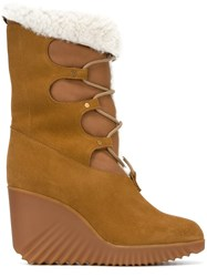 Chloe 'Foster' Wedge Boots Nude And Neutrals