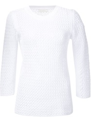 Nina Ricci Thick Knit Sheer Sweater White