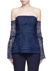Nicholas 'Eva' Off Shoulder Floral Lace Top Blue
