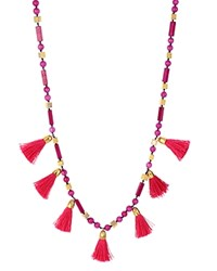 Charm And Chain Tassel Necklace 30 Pink