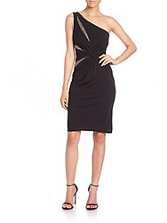 David Meister One Shoulder Embellished Cocktail Dress Black