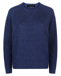 Jaeger Wool Crew Neck Sweater Blue