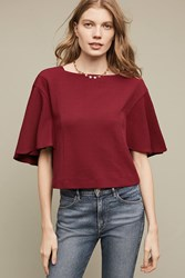 Anthropologie Cropped Viv Top Wine