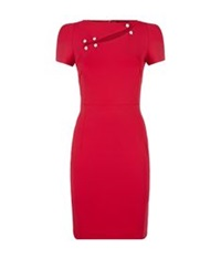 Versus By Versace Safety Pin Slash Dress Red