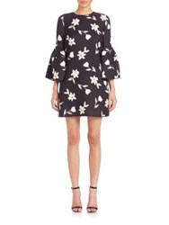 Carolina Herrera Wool Floral Print Bell Sleeve Dress Black White