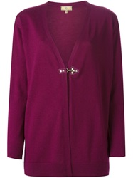 Fay Hook Fastening Cardigan Pink And Purple