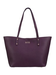 Gigi New York Personalized Taylor Mini Pebbled Leather Tote Saddle Wine