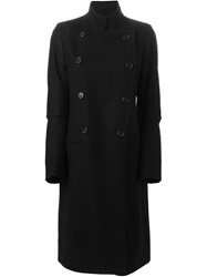 Ann Demeulemeester Double Breasted Military Coat Black