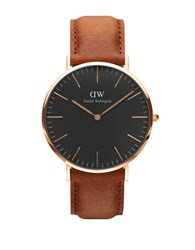 Daniel Wellington Crystal 18K Rose Gold Plated Leather Strap Watch Brown