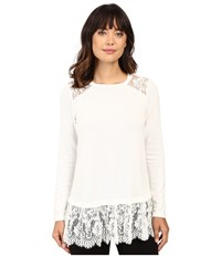 Karen Kane Lace Yoke Inset Sweater Cream Women's Sweater Beige