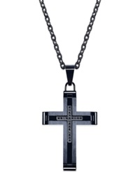 Macy's Men's Black Diamond Accent Cross Pendant In Black Ionic Plated Stainless Steel