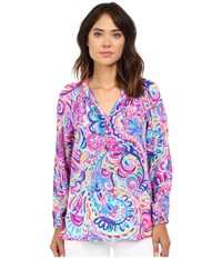 Lilly Pulitzer Elsa Top Multi Psychedelic Sunshine Women's Blouse