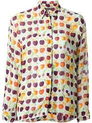 Versace Vintage Cherry Print Sheer Shirt Multicolour
