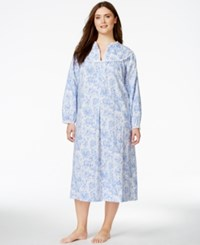 Lanz Of Salzburg Plus Size Long Flannel Nightgown White Periwinkle