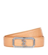 Stefano Ricci Crocodile Logo Buckle Belt Unisex Orange