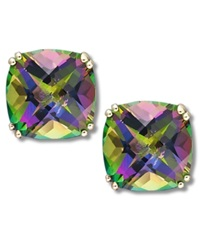 Macy's 14K Gold Earrings Cushion Cut Mystic Topaz Stud Earrings 9 1 2 Ct. T.W.