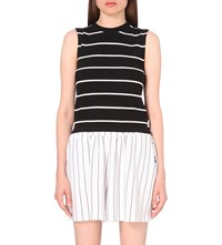 Chocoolate Stripe Print Jersey Vest Top Black