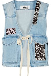 Maison Martin Margiela Printed Cotton Trimmed Denim Vest Blue