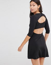 Asos Mini Skater Dress With Cut Out Back Black