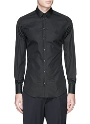 Dolce And Gabbana 'Gold' Crown Embroidery Cotton Poplin Shirt Black