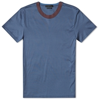 Alexander Mcqueen Raw Edge Skull Hem Tee Powder Blue