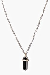 Boohoo Crystal Pendant Skinny Necklace Pack Gold