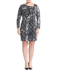 Kay Unger New York Plus Animal Print Ruched Long Sleeve Dress Grey Multi
