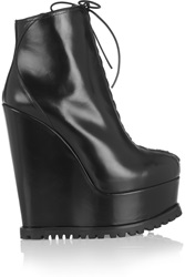 Alaia Leather Wedge Ankle Boots