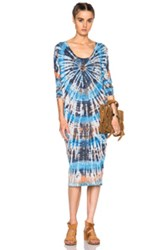 Raquel Allegra Raglan Dress In Ombre And Tie Dye Blue