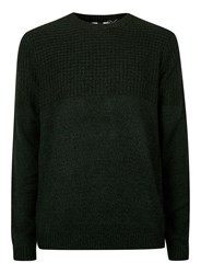 Topman Green Twist Textured Yoke Sweater