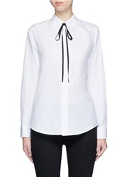 Theory 'Anesha' Ribbon Neck Tie Cotton Shirt White