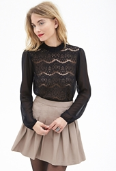 Forever 21 Sheer Lace And Chiffon Blouse Black