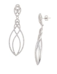 Lord And Taylor Sterling Silver Open Swirl Pave Earrings