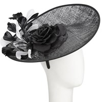 John Lewis Imogen Disc Silk Flower Occasion Hat Black White