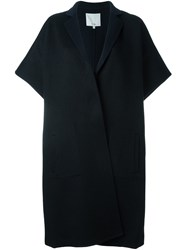 Tibi Notched Collar Cape Black