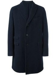 Z Zegna Classic Single Breasted Coat Blue
