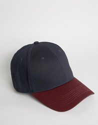 Asos Baseball Cap In Burgundy And Navy Burgundy Red