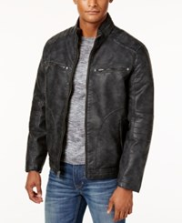 Buffalo David Bitton Faux Leather Nubuck Jacket Onyx
