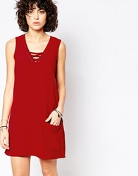 Influence Lace Up Shift Dress With Front Pockets Red