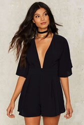 Drop Rocks Plunging Romper Navy