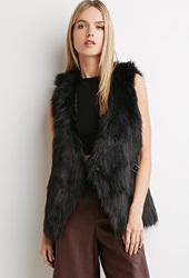 Forever 21 Buckled Faux Fur Vest Black
