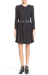 The Kooples Women's Embroidered Shirtdress Black