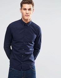 Esprit Cotton Shirt In Slim Fit With Stretch Navy