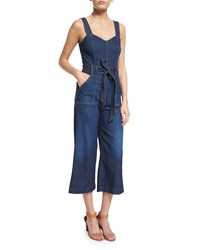 7 For All Mankind Sleeveless Wide Leg Cropped Jumpsuit Saint Tropez Night Size 29 Saint Tropez Nigh