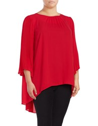 Vince Camuto Plus Hi Lo Pleated Chiffon Tunic Red
