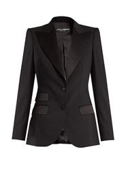 Dolce And Gabbana Single Breasted Wool Silk Blend Jacket Black