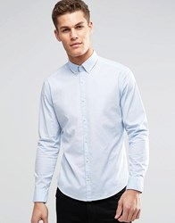 Esprit Cotton Shirt In Slim Fit With Stretch Sky Blue